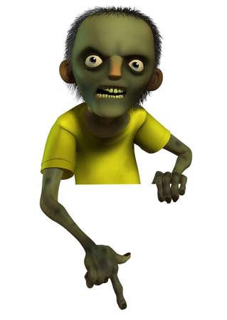 walking on hands: 3d cartoon halloween zombie