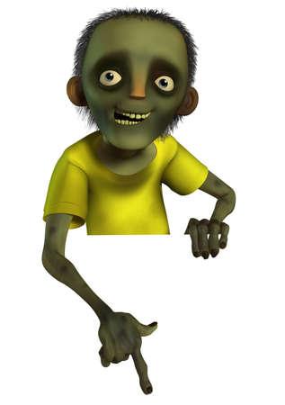 3d cartoon halloween zombie photo