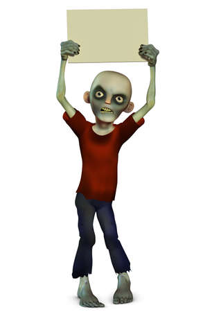 3d halloween: Zombie holding placard Stock Photo