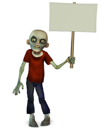 3d cartoon zombie holding placard photo