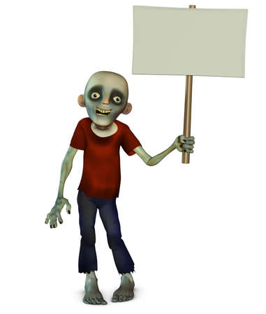 Halloween zombie holding placard photo