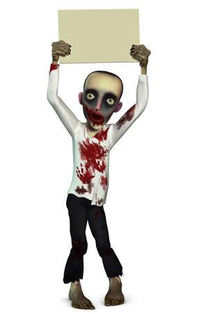 undead: Zombie holding blank Stock Photo