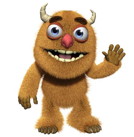 furry animals: Dibujos animados 3d monstruo peludo lindo Foto de archivo