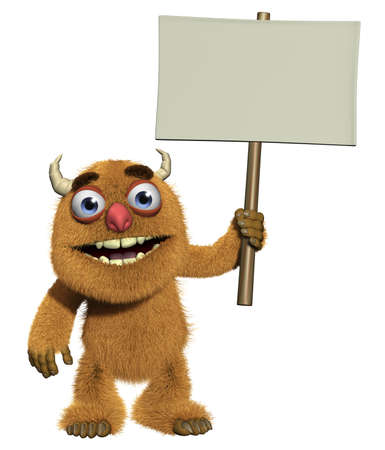 mutant: 3d cartoon cute furry monster holding blank
