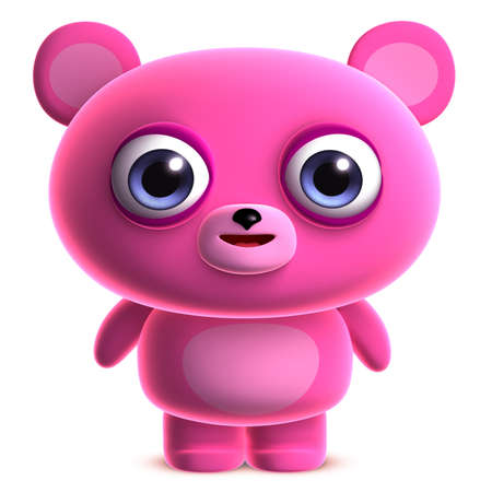 3d cartoon cute pink bear photo