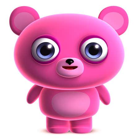cute bear: 3d cartoon cute pink bear Stock Photo