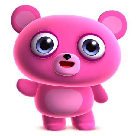 clumsy: 3d cartoon cute pink bear Stock Photo