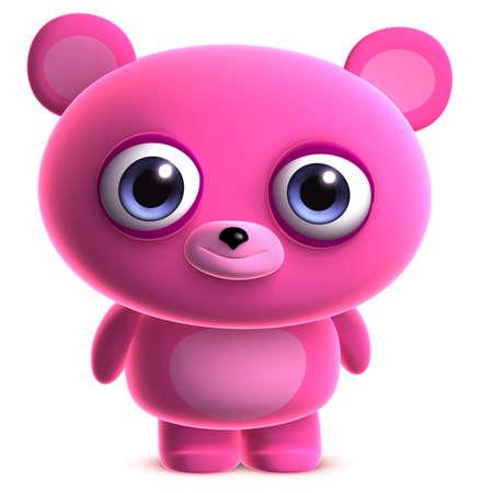teddy bear cartoon: 3d cartoon cute pink bear Stock Photo