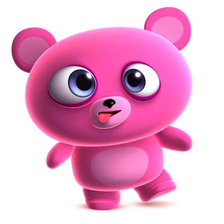 clumsy: 3d dibujos animados lindo oso de color rosa