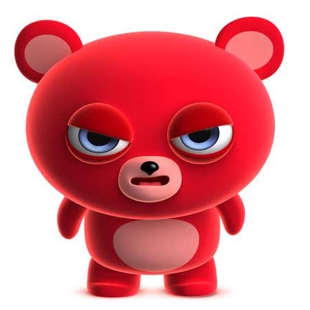 clumsy: 3d cartoon cute red bear