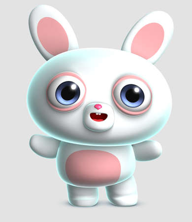 fluffy ears: 3d cartoon cute bunny Stock Photo