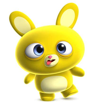 3d dibujos animados lindo conejo