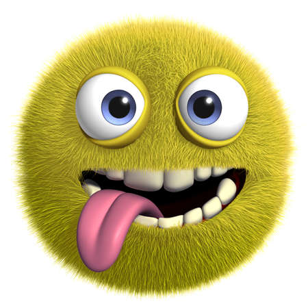 3d cartoon cute furry monster Imagens