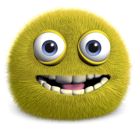 hairy adorable: 3d cartoon cute furry monster Stock Photo