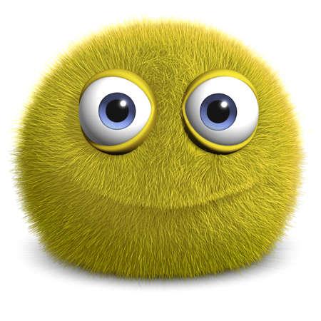 pelota caricatura: Dibujos animados 3d monstruo peludo lindo Foto de archivo