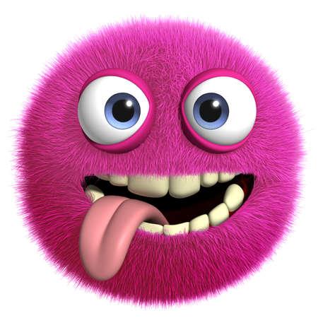 ojos caricatura: Dibujos animados 3d monstruo peludo Foto de archivo