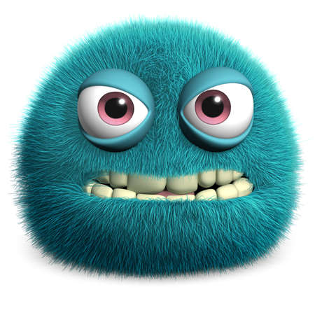 부드러운 털의: 3D 만화 모피 괴물 스톡 사진