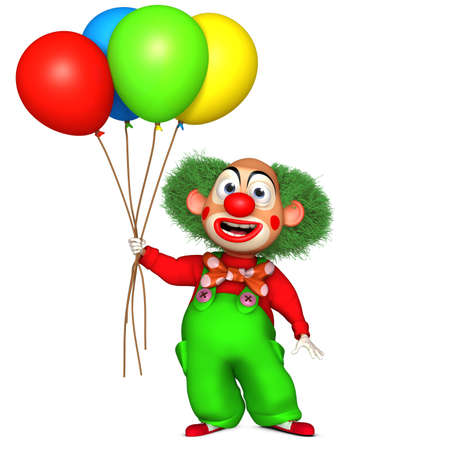 in amazement: cartoon clown Stock Photo
