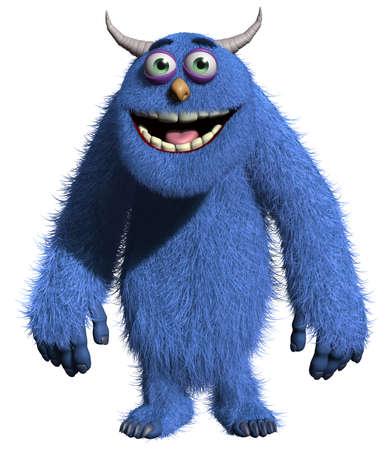 3d cartoon blue horn monster