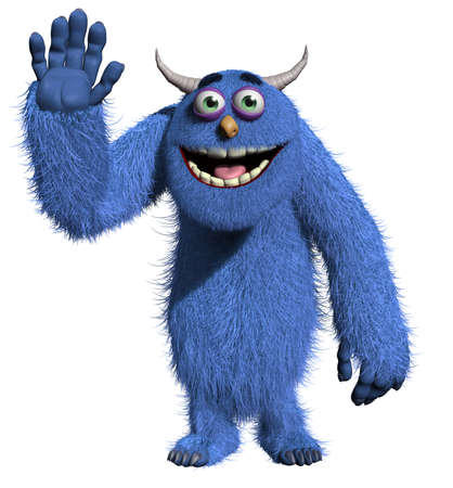 abominable: 3d cartoon blue horn monster