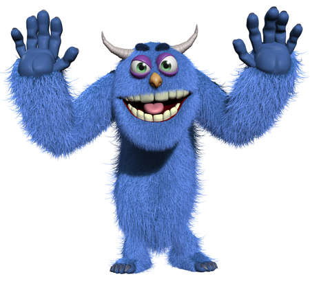 3d cartoon blue horn monster photo