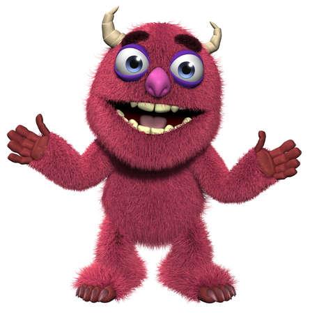 goblin: 3d cartoon cute furry monster Stock Photo