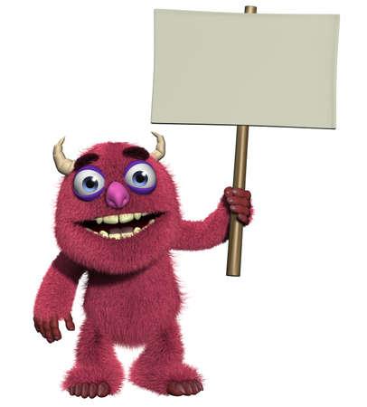petition: 3d cartoon cute furry monster holding blank