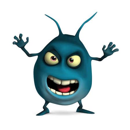 virus organism: 3d cartoon cute virus Stock Photo