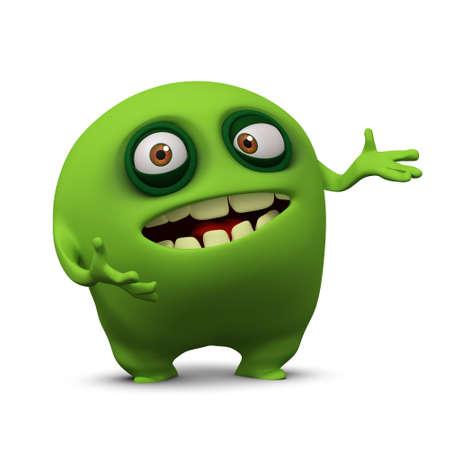 3d cartoon cute bacterium