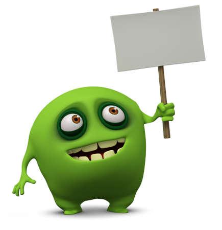 unicellular: 3d cartoon cute monster holding placard Stock Photo
