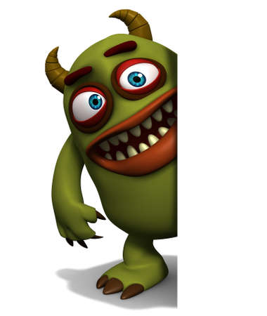 halloween cartoon: 3d cartoon green horn monster Stock Photo