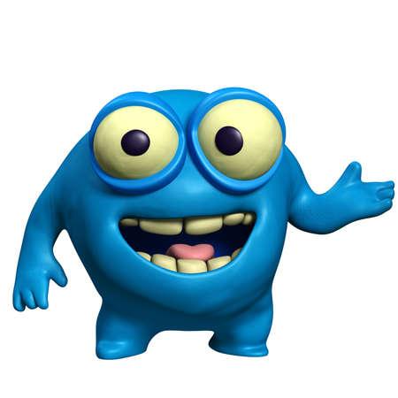unicellular: cartoon blue cute monster