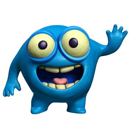 unicellular: cartoon blue alien