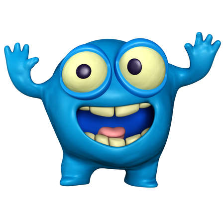 virus organism: cartoon blue monster Stock Photo