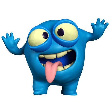 micro organism: cartoon crazy blue monster Stock Photo