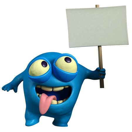 alien head: cartoon blue monster holding placard Stock Photo