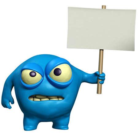 eye ball: cartoon halloween monster holding placard Stock Photo