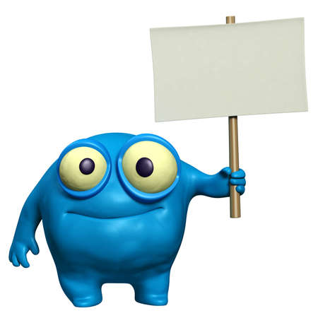 cartoon cute monster holding placard photo