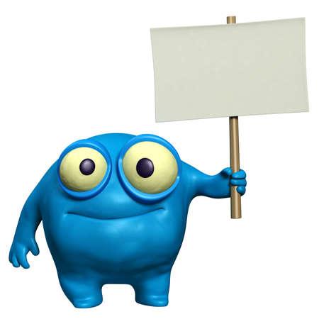 organisms: cartoon cute monster holding placard