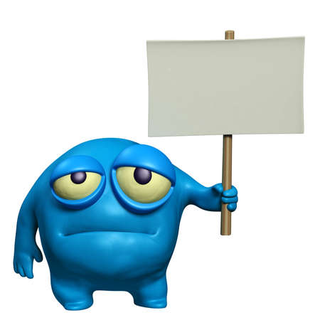 filth: cartoon sad monster holding placard