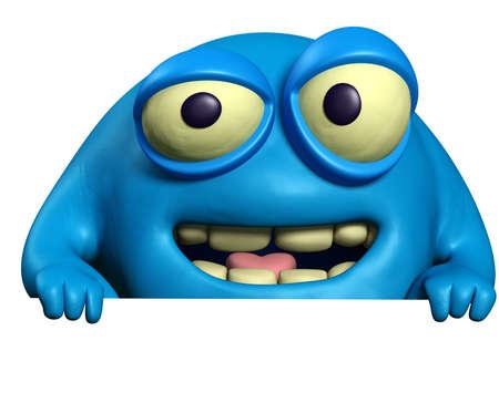 unicellular: cartoon blue beast Stock Photo