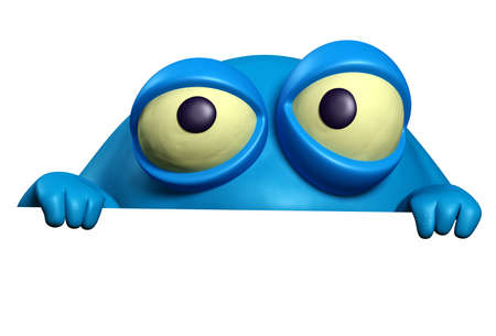halloween eyeball: cartoon blue bug