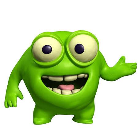 alien head: green cute monster