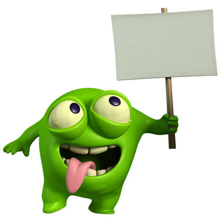 cartoon alien: green monster holding placard Stock Photo