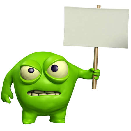 unicellular: halloween monster holding placard Stock Photo