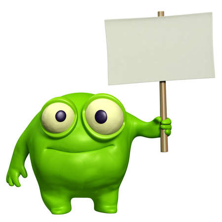 organism: cute monster holding placard