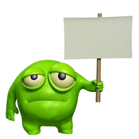 micro organism: sad monster holding placard