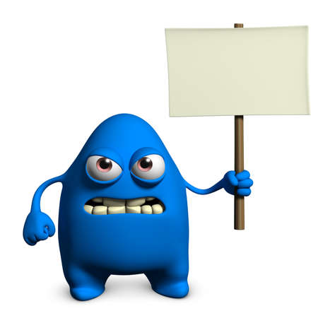 a placard: 3d cartoon cute monster holding blank Stock Photo