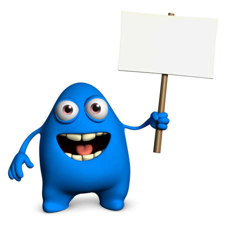 placards: 3d cartoon cute monster holding placard Stock Photo