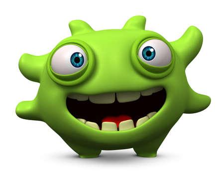 computer bug: 3d cartoon furry cute monster Stock Photo